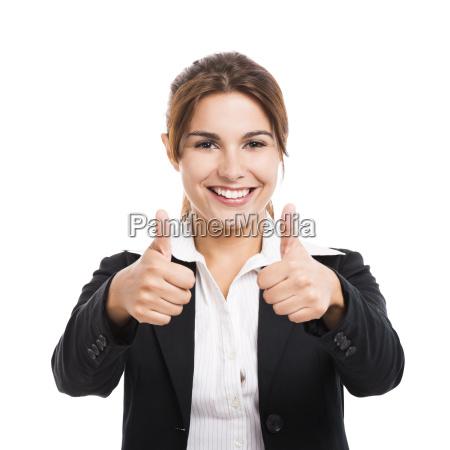 business kvinde med tommelfingre op