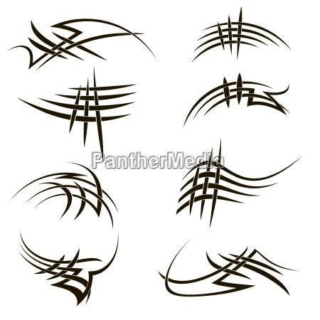 set of different tribal tattoo design