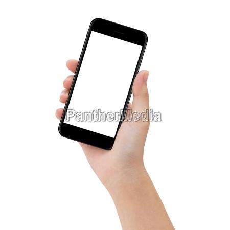 close up hand holde telefon isoleret