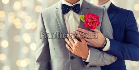 nahaufnahme von gluecklichen maennlichen homosexuell paar