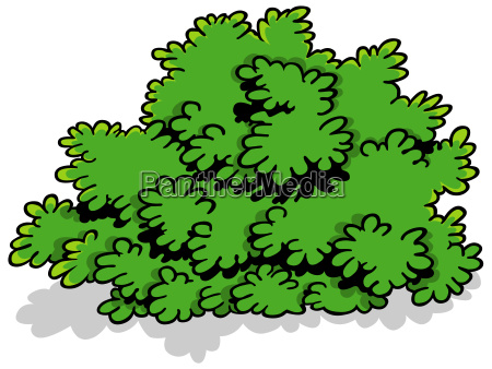 green cartoon shrub
