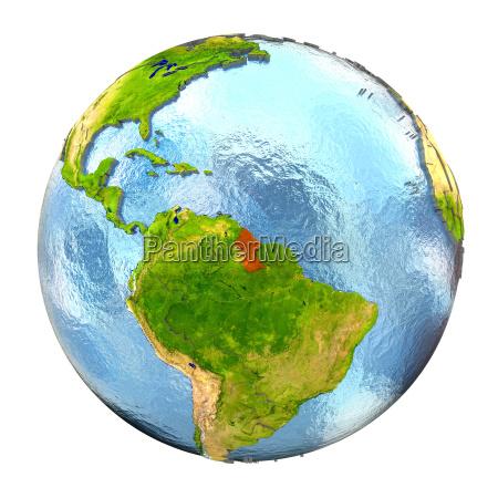 guyana i rodt pa fuld earth