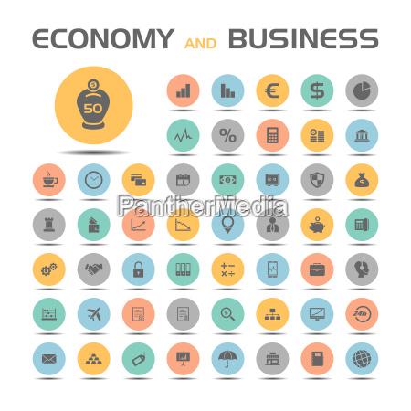 okonomi og business ikoner pa farvede