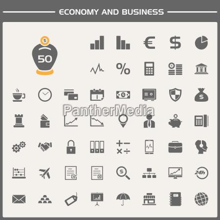 okonomi og business ikoner saet
