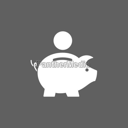 piggy bank ikon pa mork baggrund