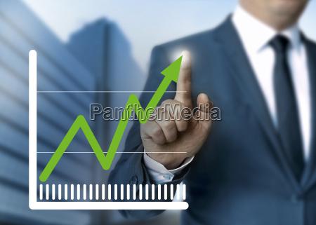 mand viser off aktiekurs touchscreen koncept