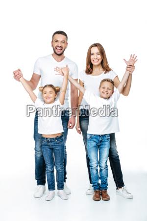 god familie med haevede haender