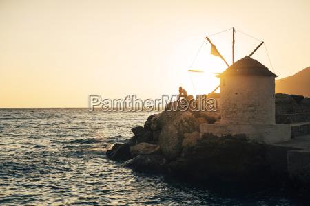 greece amorgos aegialis silhouette of man