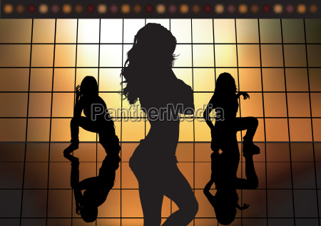 dancing girl silhouettes background