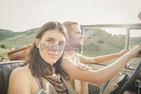 a couple on a road trip