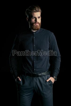 stilfuld, smuk, skægget, mand, stående, med - 20508515