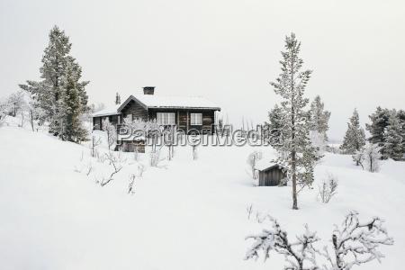 norway oppland log cabin in winter