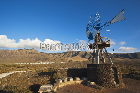 traditional wind pump with 600m volcanic