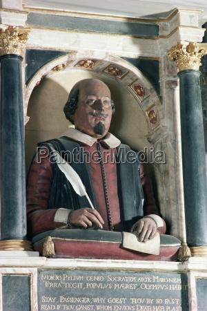 william shakespeares bust holy trinity church