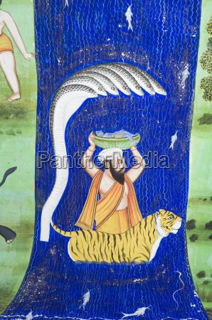 smukke mughal kalkmalerier pa vaeggene i