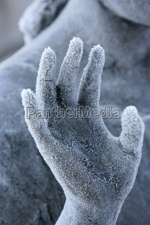 close up of frozen hand on