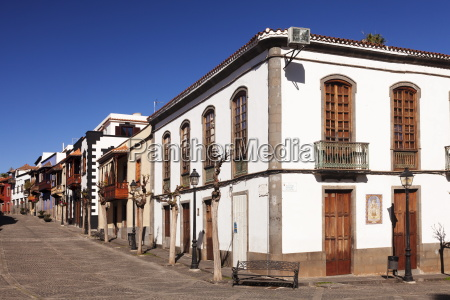 street with traditional wooden balconies teror