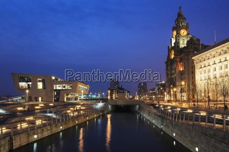 royal liver building at dusk pier