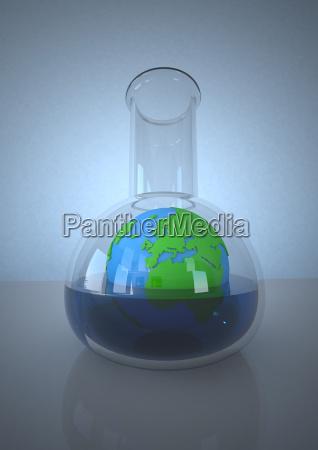planet jord i laboratoriekolbe mod bla