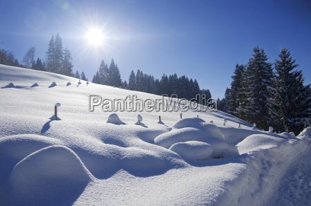 tyskland bayern udsigt til vinterlandskabet valley