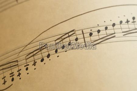 ark med musikalske noter naerbillede