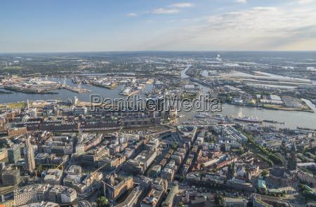 tyskland hamborg luftfoto af byens centrum