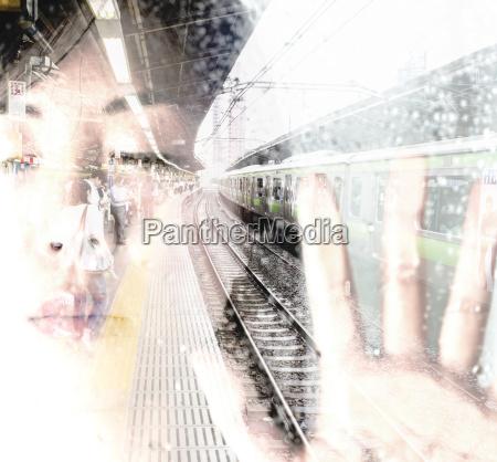 ansigt af asiatisk kvinde med lukkede