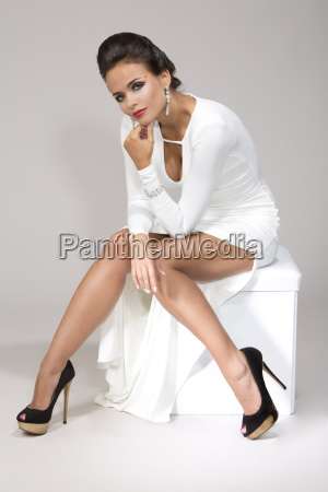 kvinde ifort hvid kjole studio skud