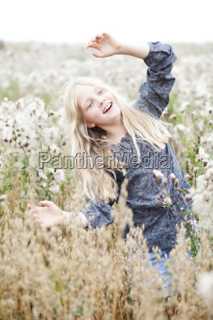 portrait of smiling girl having fun