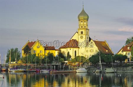 tyskland wasserburg kirken pa halvoen bodensoen
