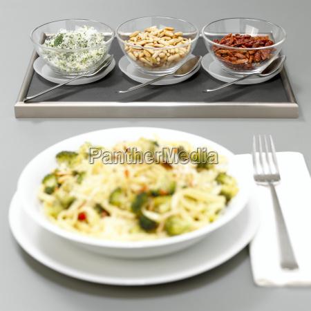 pasta with herbal salt pine nuts