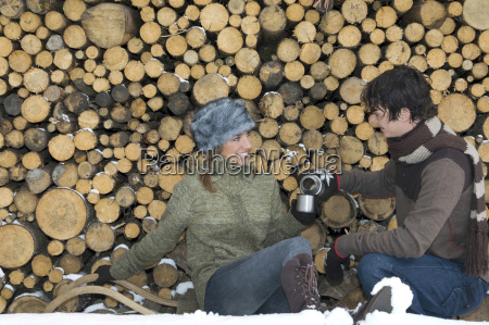 austria salzburger land young couple taking