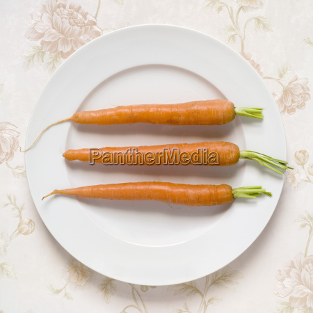 carrots on plate elevated view