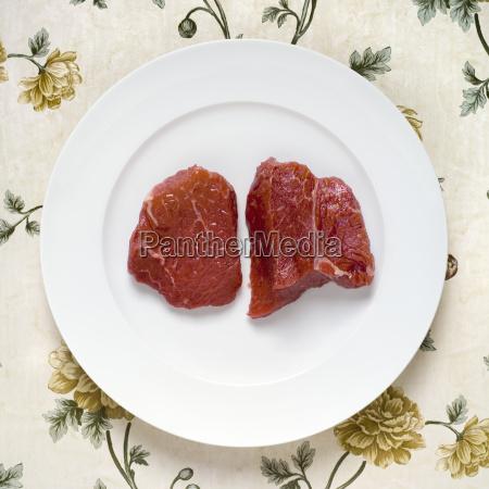 raw steak elevated view