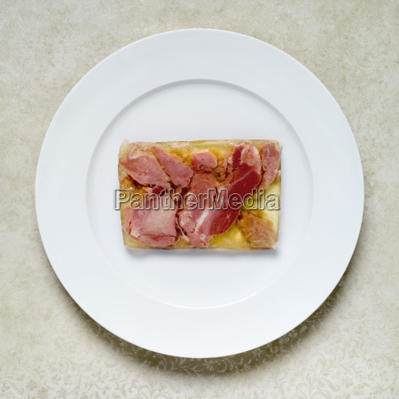 soured meat in jelly on plate