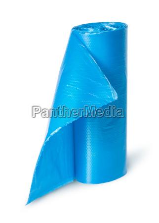 lodret rulle af bla plastik skraldeposer