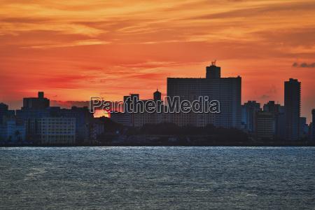 havana skyline during sunset from castillo