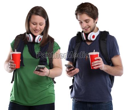unge med mobiltelefon cola drink unge
