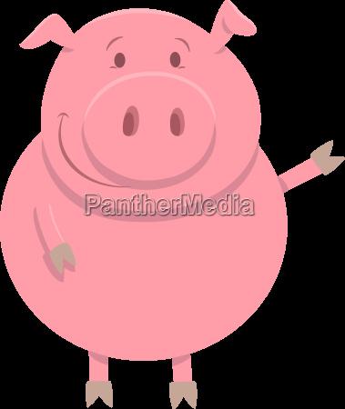 happy pig farm animal character