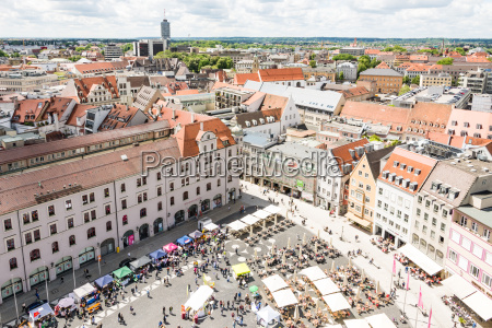 aerial view of people in a