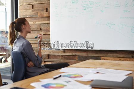 ung kvinde sidder i et kontor