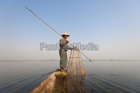 a basket fisherman after having trapped