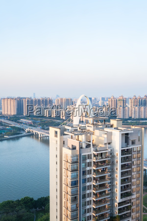 apartment house and bridge in guangzhou