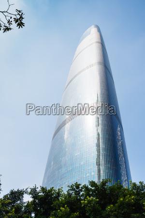 glass skyscraper in guangzhou city in