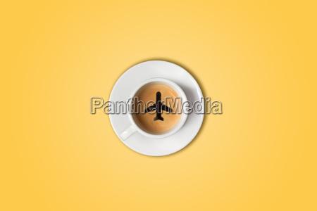rejse konceptet lufthavnen coffee cup top