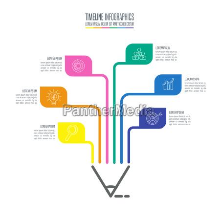 uddannelse infographics skabelon 6 trin mulighed