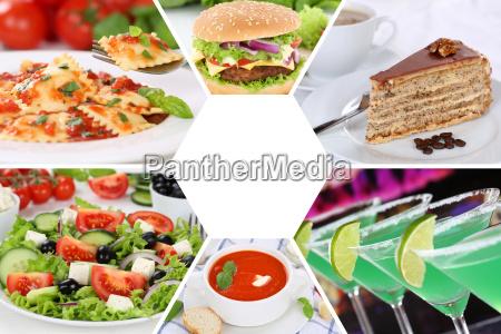 collection collage mad og drikke retter