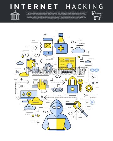digital vector bla internetsikkerhed databeskyttelse ikoner
