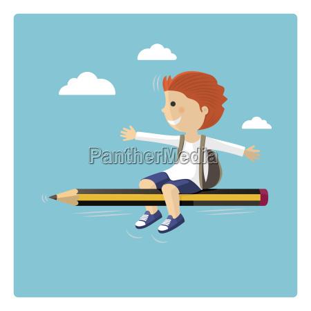 boy flyver i en blyant gennem