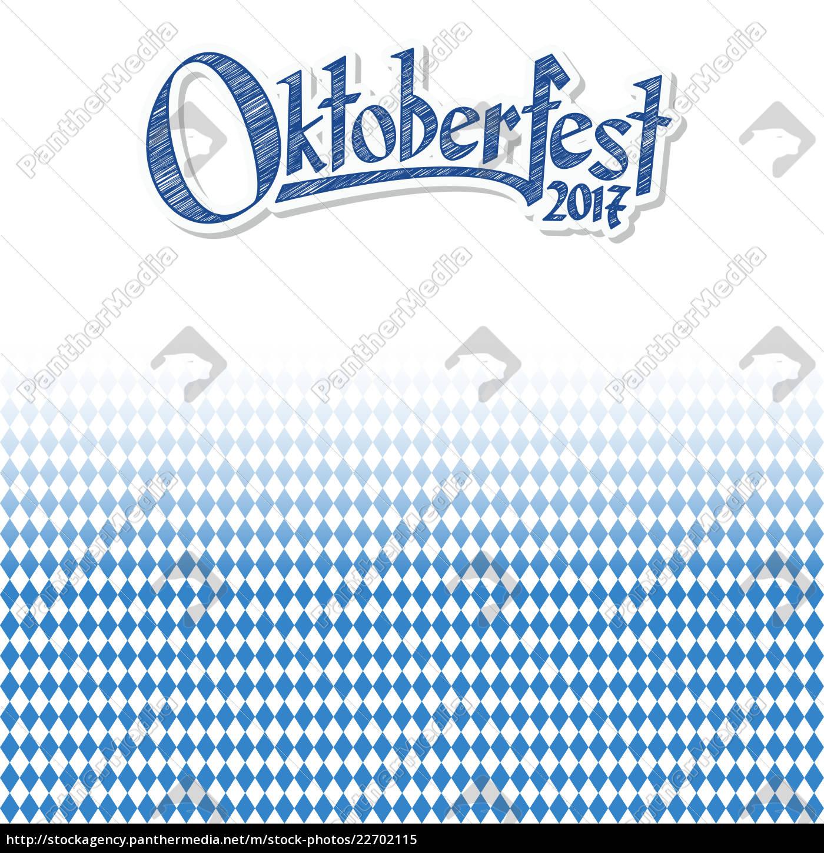 oktoberfest, baggrund, med, blåt-hvidt, ternet, mønster - 22702115